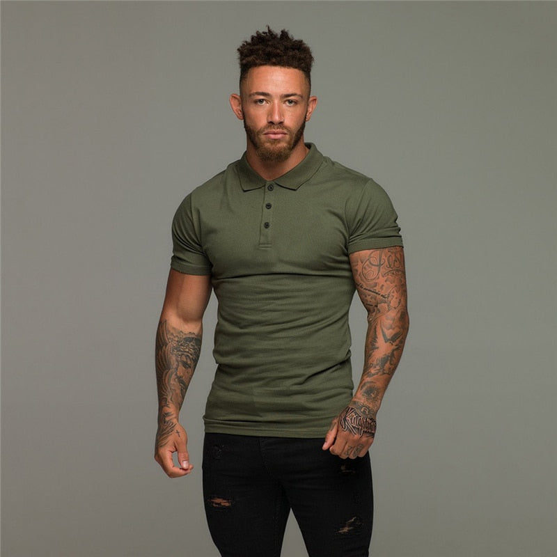 Short Sleeve Plain Color Slim Fit Men's Green Polo Shirt