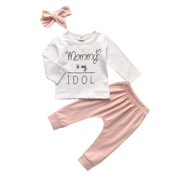 """Mommy Is my Idol"" Letter Printed Long Sleeve Baby Girls T-shirt With Pants & Headband"