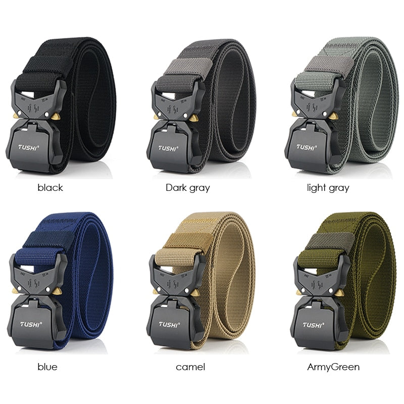 Quick Release Metal Buckle Elastic Tactical Men's Belt
