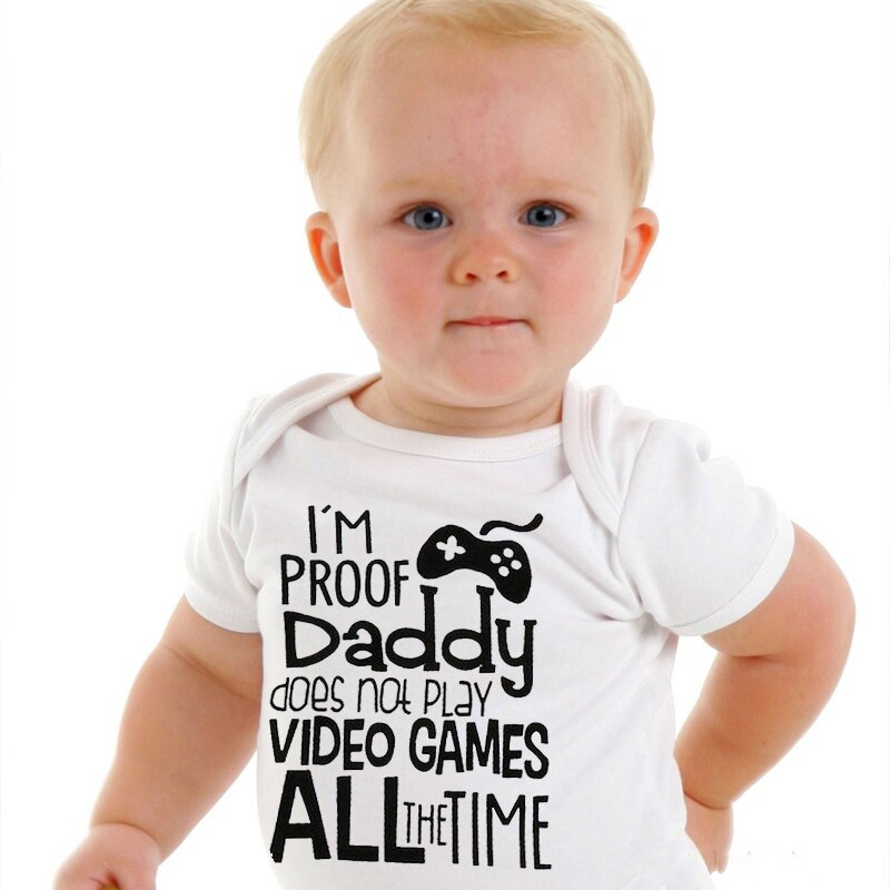 "Unisex ""I'm Proof Daddy Does't Play Video Games"" Printed Baby Jumpsuit"