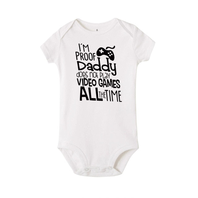 "Unisex ""I'm Proof Daddy Does't Play Video Games"" Printed Baby White Jumpsuit"