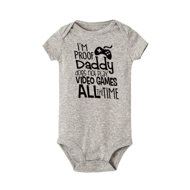 "Unisex ""I'm Proof Daddy Does't Play Video Games"" Printed Baby  Grey Jumpsuit"