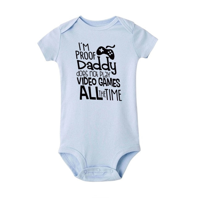 "Unisex ""I'm Proof Daddy Does't Play Video Games"" Printed Baby Blue Jumpsuit"
