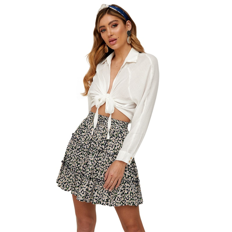Boho High Waist Floral Print Frills Mini Skirt For Women