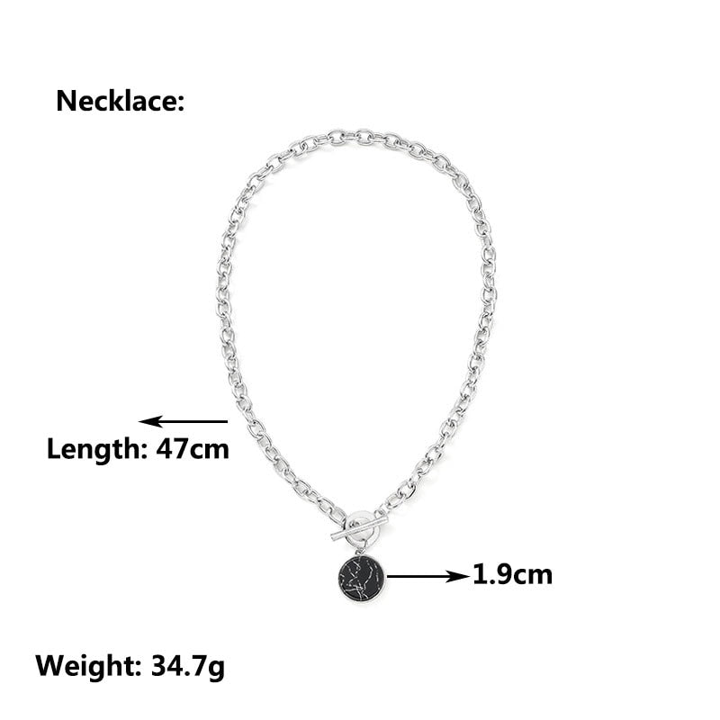 Boho Round Marble Chain Necklaces For Women