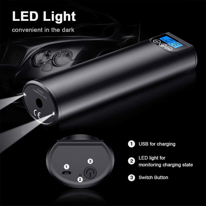 Portable Rechargeable Mini Air Compressor With LED Emergency Light
