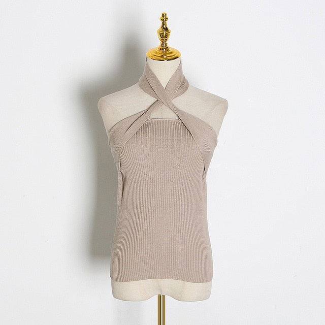 Off Shoulder Sleeveless Slim Knitted Apricot Women's Tops