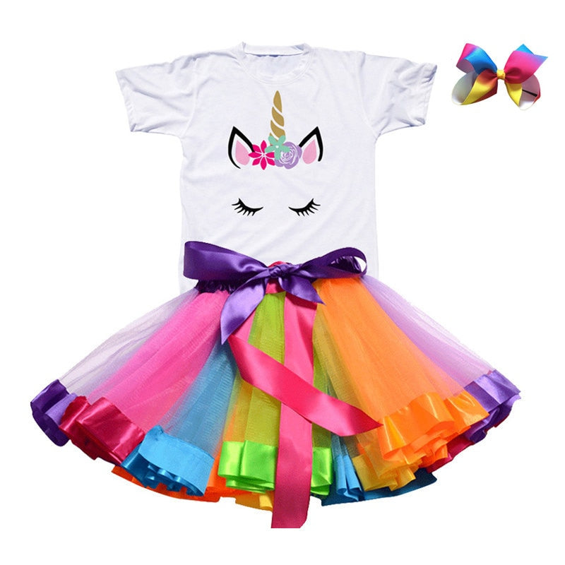 Summer Unicorn T-shirt & Rainbow Girls Tutu Skirt