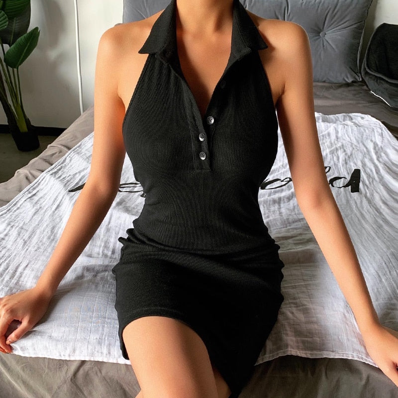 Off Shoulder Backless V-Neck Front Button Halter Mini Black Dress