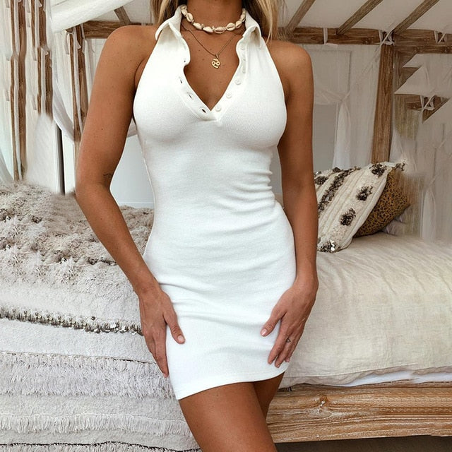 Off Shoulder Backless V-Neck Front Button Halter Mini Dress