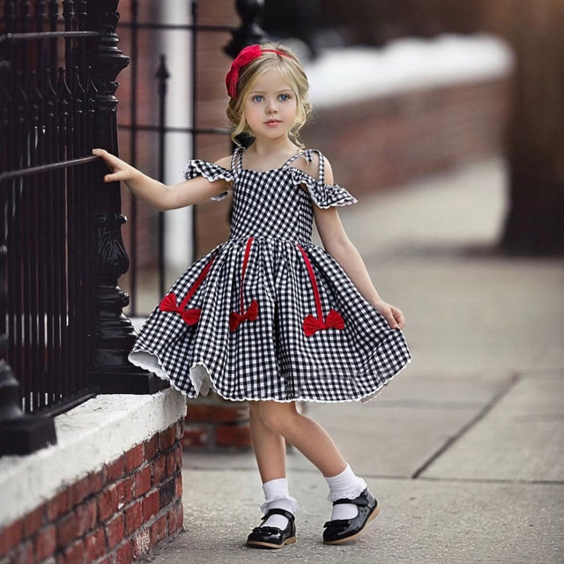 A-Line Off Shoulder Short Sleeve Plaid Princess Dress