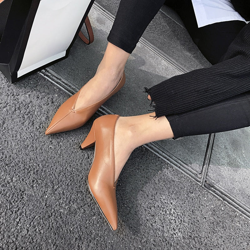Pointed Toe Spike Heels Genuine Cow Leather Women's Pumps