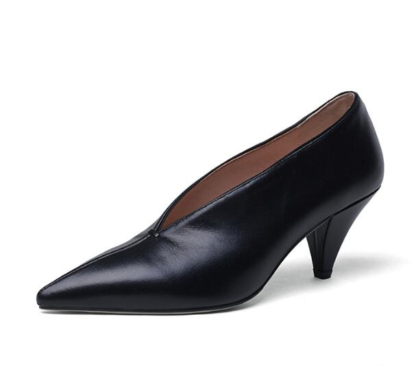 Pointed Toe Spike Heels Genuine Cow Leather Women's Black Pumps