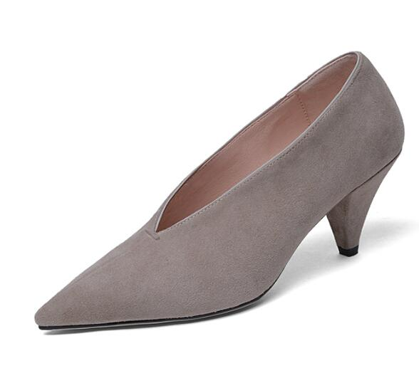 Pointed Toe Spike Heels Genuine Cow Leather Women's Grey Sheep Suede Pumps