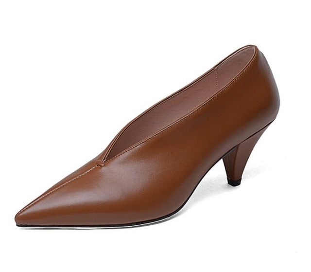 Pointed Toe Spike Heels Genuine Cow Leather Women's Brown Pumps