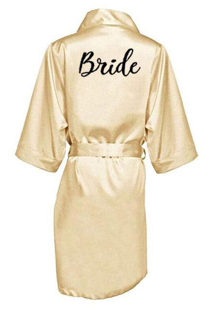 Letter Printed Bride/Bridesmaid Mother/Sister Of The Bride Satin Wedding Bathrobe