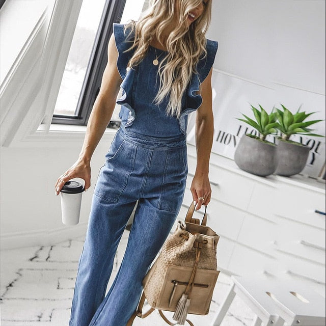 Bodycon Butterfly Bell Back Lace Up Denim Jumpsuit For Women