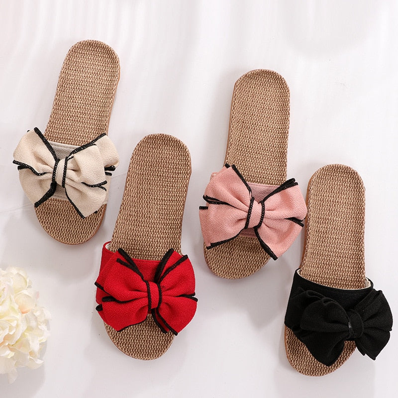 Butterfly-Knot Linen Women's Home Slippers