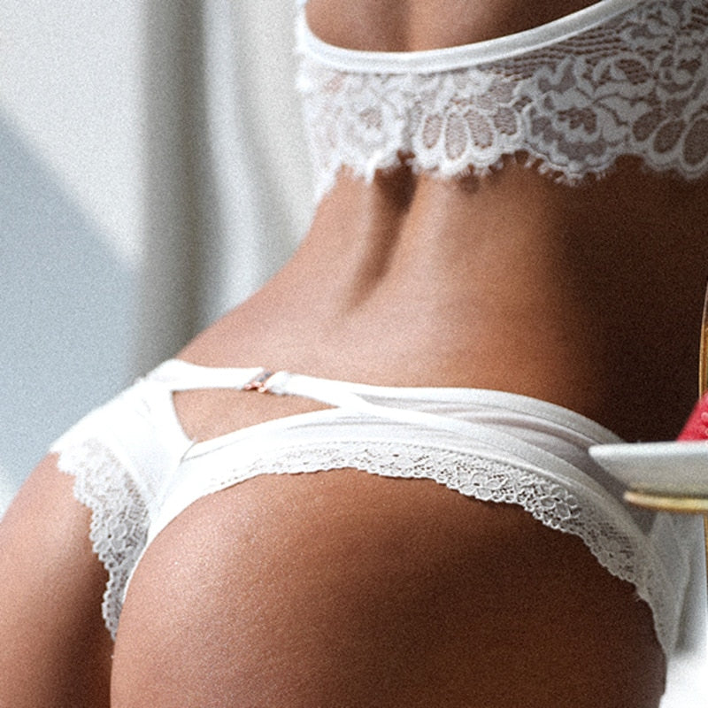 Hollow Out Cross Bandage Seamless Lace Women's White Thong