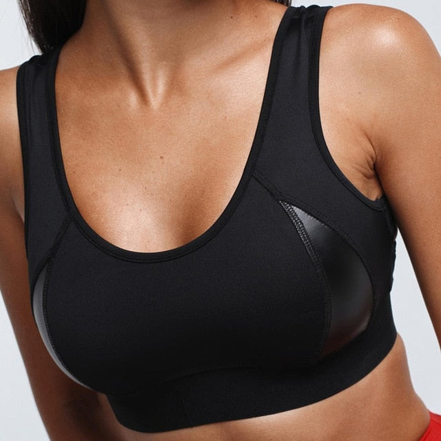 Patchwork Push Up Sports Black Women's Bra