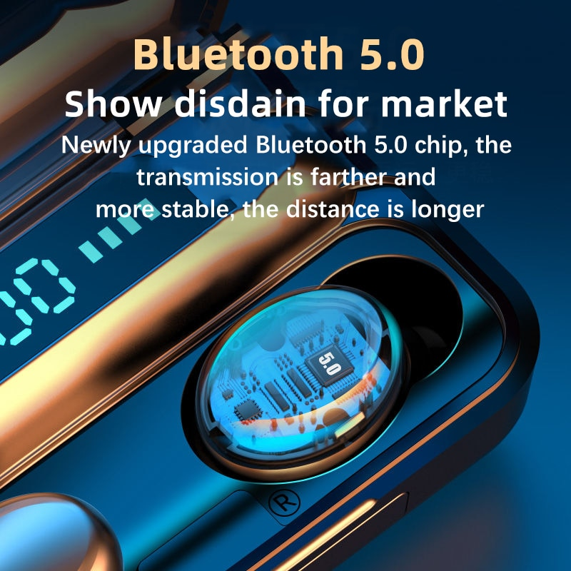 Wireless Waterproof Fingerprint Touch 5.0 Bluetooth TWS Earphones