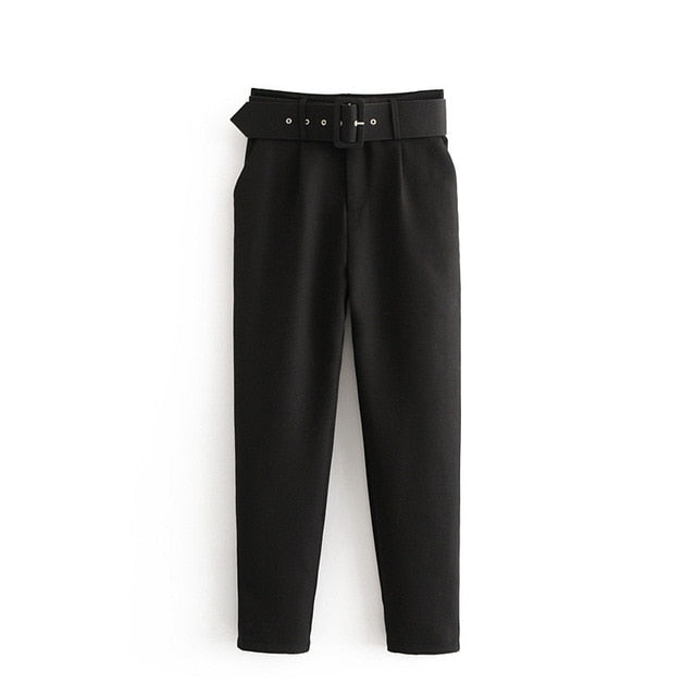 Retro High Waist Solid Color Sashes Slim Women's Black Pants