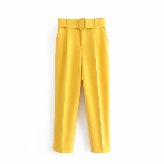 Retro High Waist Solid Color Sashes Slim Women's Yellow Pants