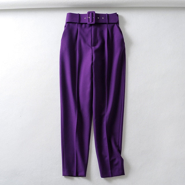 Retro High Waist Solid Color Sashes Slim Women's Purple Pants