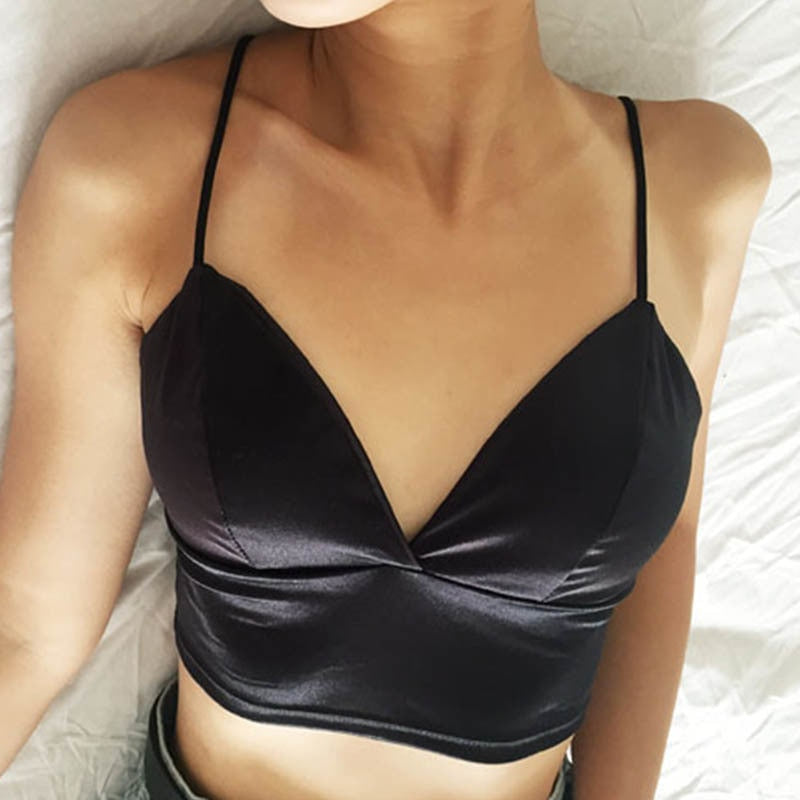 Sexy Spaghetti Strap Padded Satin Crop Tops For Women