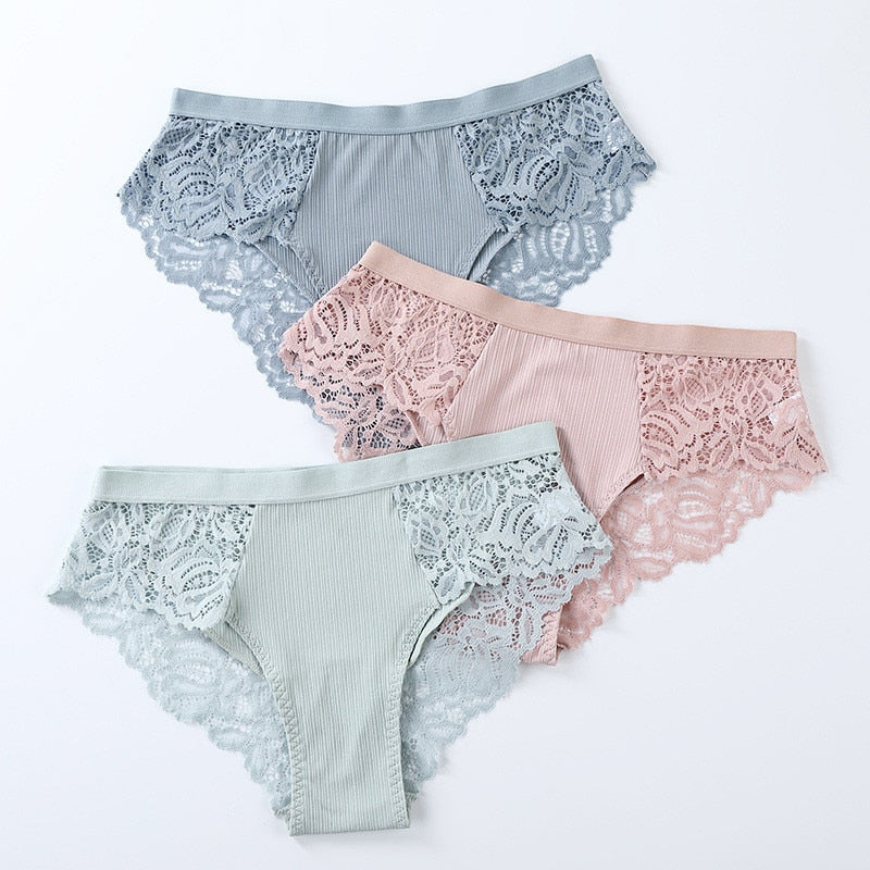 3 Pcs Low-Rise Floral Lace Cotton Women's Panties