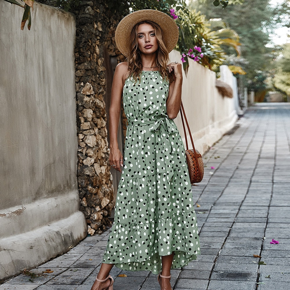 High Waist Sleeveless Lace Up Dot Printed Maxi Green Sundress