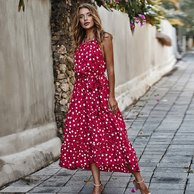 High Waist Sleeveless Lace Up Dot Printed Maxi Red Sundress