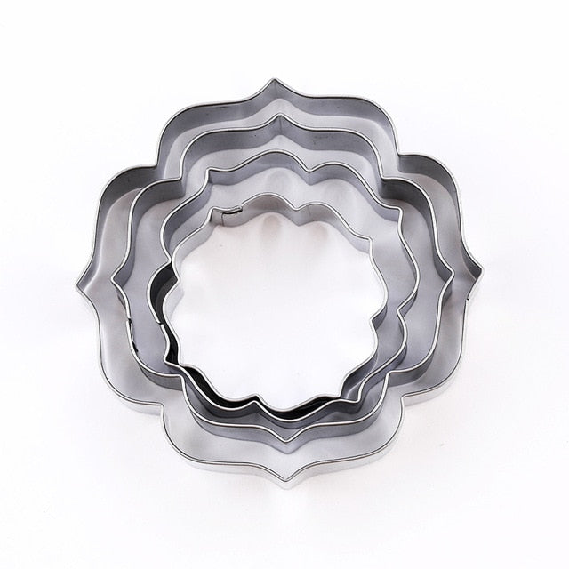 4Pcs/Set Stainless Steel Fondant Mold & Cookie Stamper