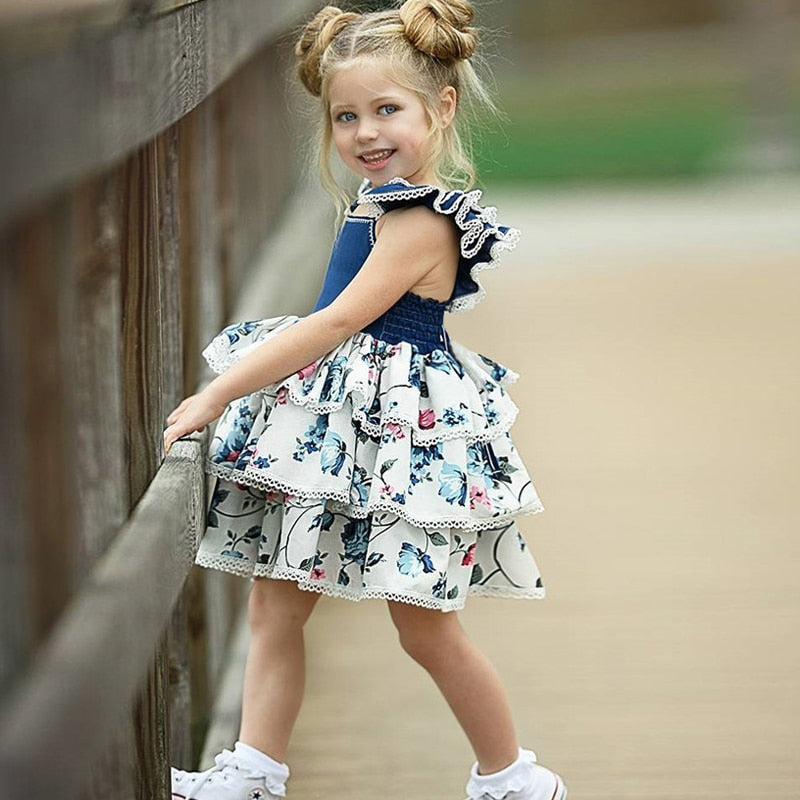 Square Collar Flying Sleeve Floral Printed Girls Ball Gown