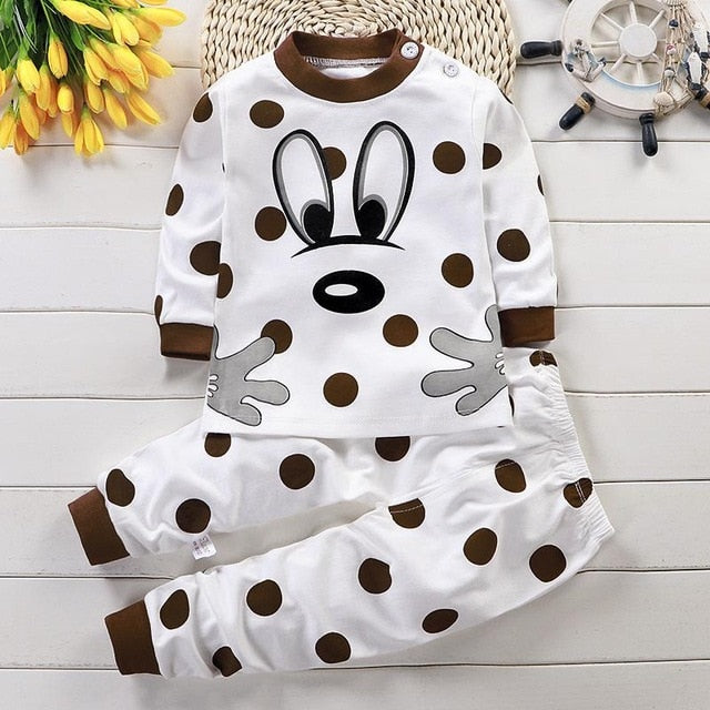 Unisex Animal Cartoon Cotton Kids Pajamas Set