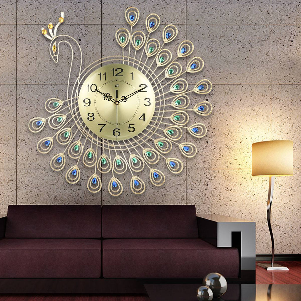 DIY Large 3D Gold Diamond Peacock Wall Clock