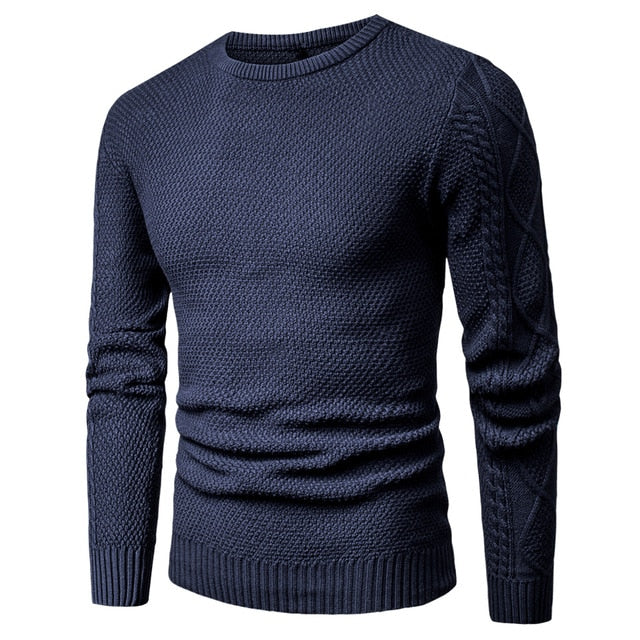 Warm Geometric Soft Cotton Men's Blue Pullover