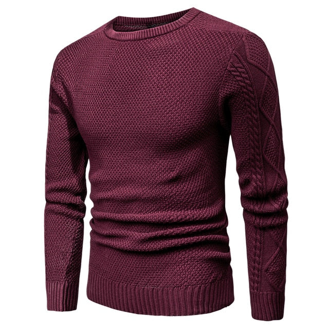 Warm Geometric Soft Cotton Men's Wine Red Pullover