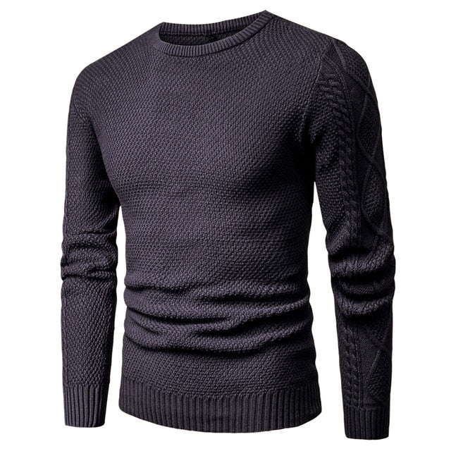 Warm Geometric Soft Cotton Men's Black Pullover