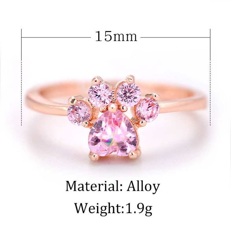 Cute Cartoon Cat's Paw Crystal Engagement Women's Rings