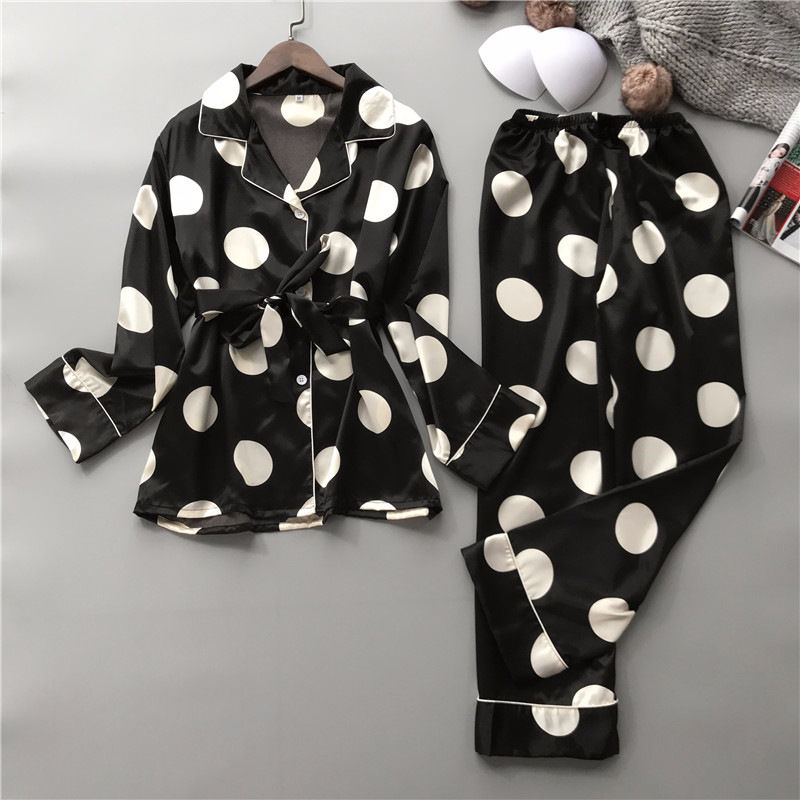 2Pcs/Set Dot Printed Silk Women's Pajamas Set