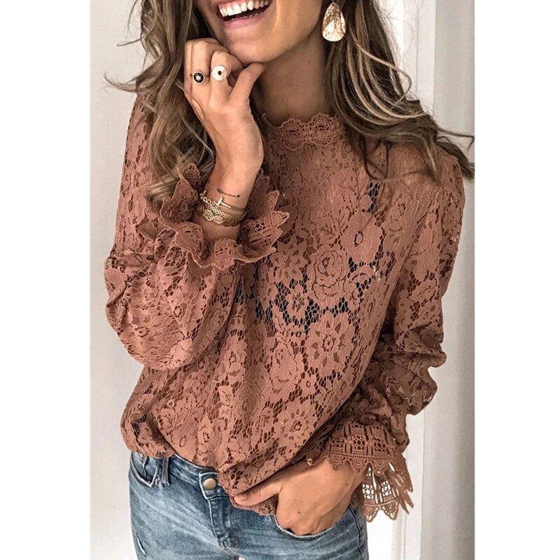 Patchwork Hollow Out O-Neck Lace Ruffles Women's Brown Blouse
