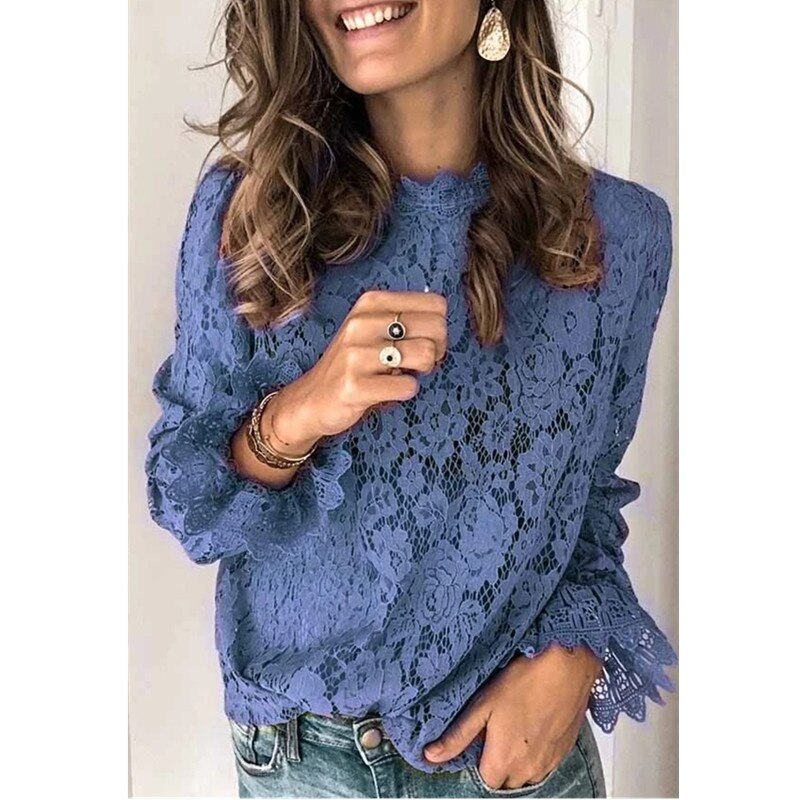 Patchwork Hollow Out O-Neck Lace Ruffles Women's Blue Blouse