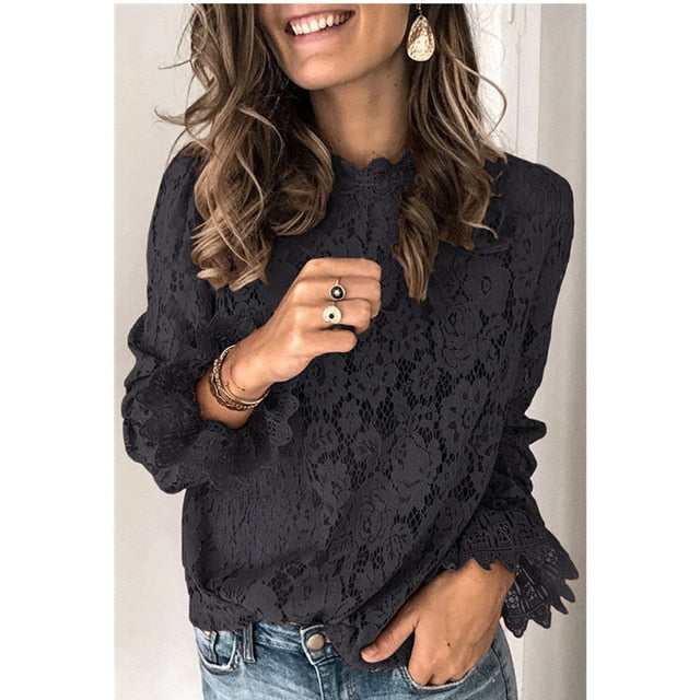 Patchwork Hollow Out O-Neck Lace Ruffles Women's Black Blouse