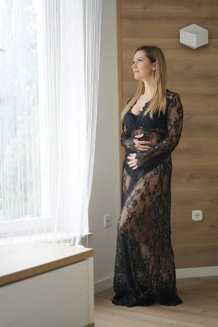 V-neck Gown Lace Maternity Maxi Dress For Fancy Shooting