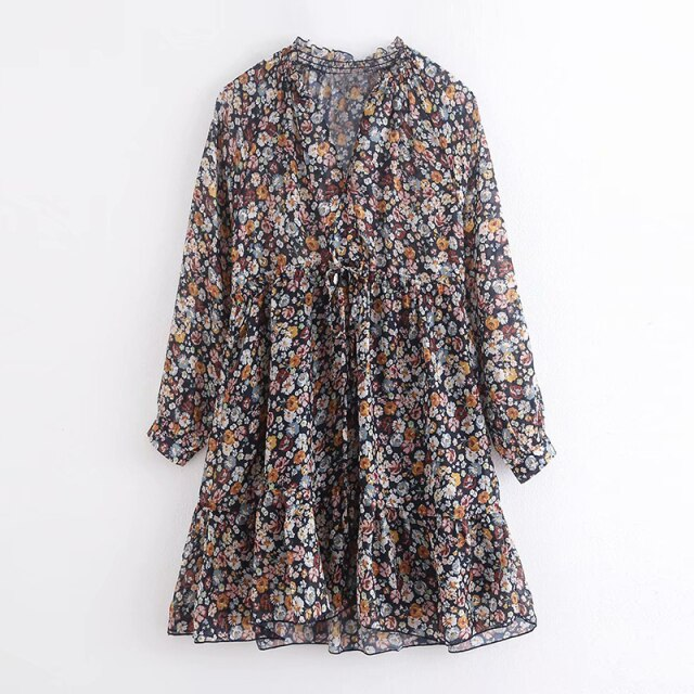 Boho Lantern Long Sleeve Floral Print Pleated Mini Dress