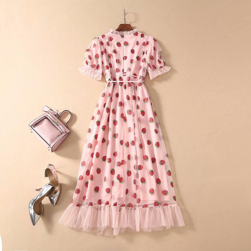 Patchwork A-Line Belt Strawberry Stamping Mid-Length Dress