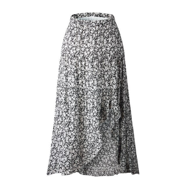 High Waist Asymmetrical Floral Print Ruffles Long Skirt