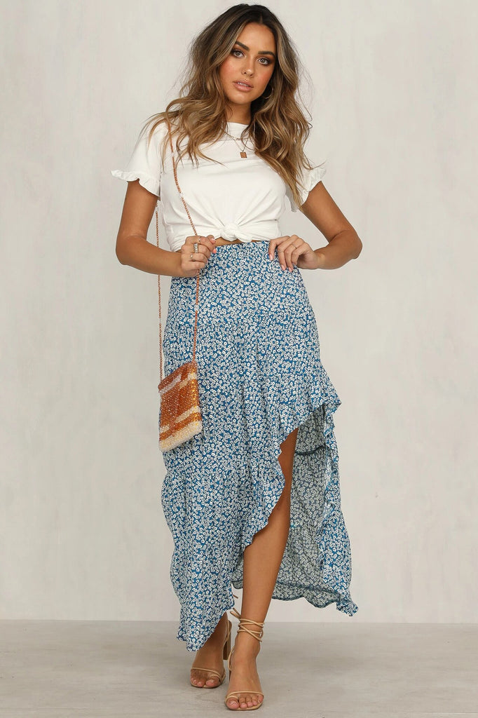 Asymmetrical Floral Print Ruffles Blue Long Skirt