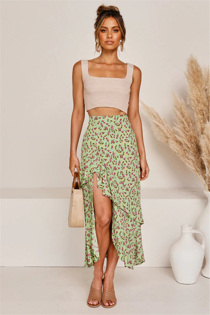 Asymmetrical Floral Print Ruffles Green Long Skirt